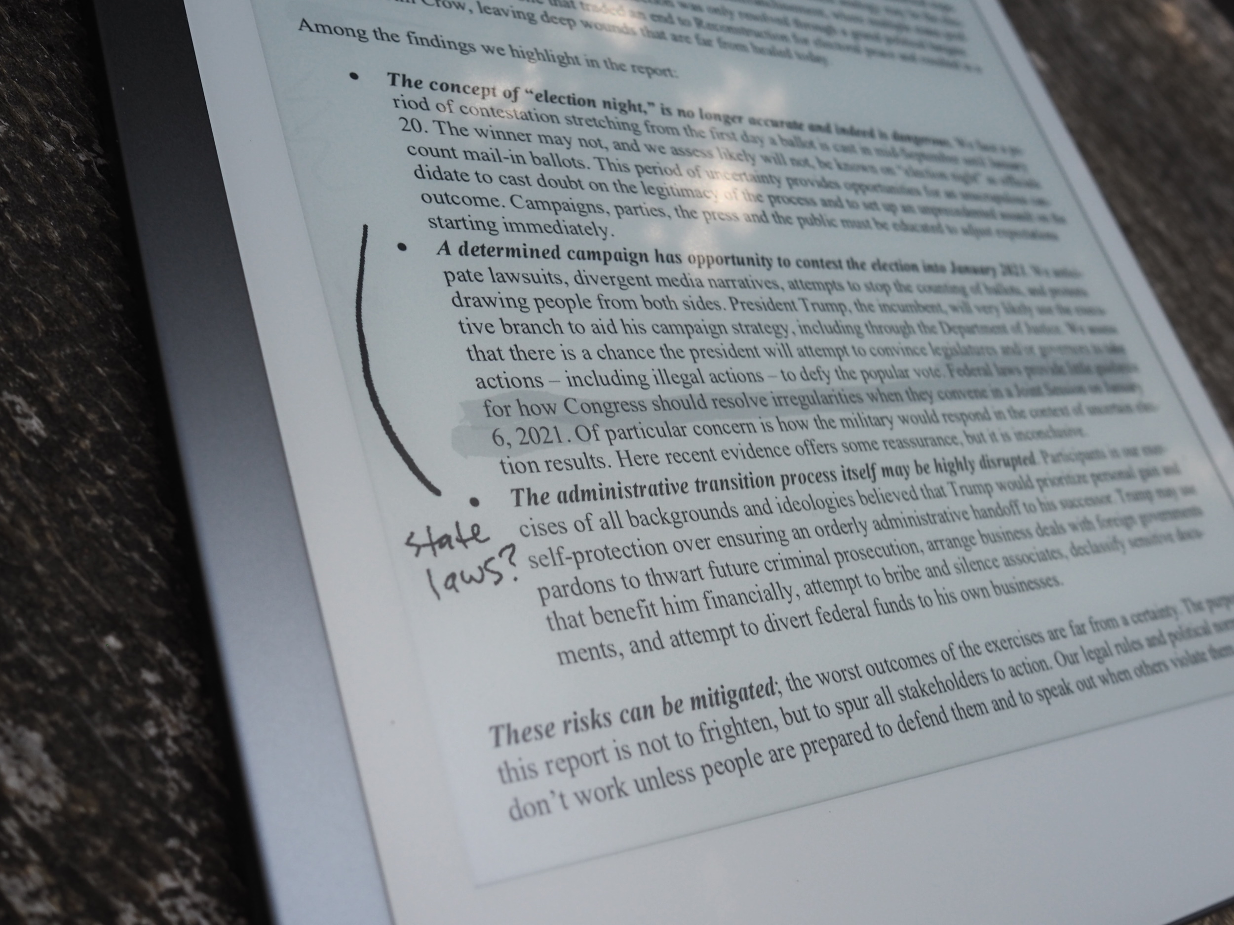An annotated PDF on the remarkable tablet.